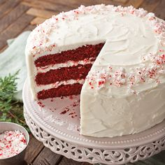 A red velvet cake only gets better when topped with a dreamy buttercream and a hint of peppermint.      From Paula Deen
