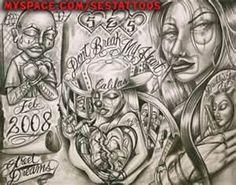 Chicano Tattoo Flash Font Art