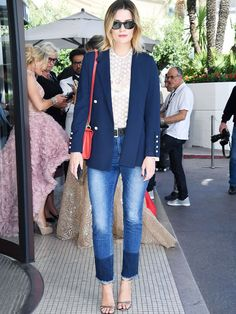 Actress Mischa Barton looks stylish in jeans and a navy blazer at the 2017 Cannes Film Festival. Blazer Outfits For Women, Casual Outfits, Fashion Outfits, Women's Fashion, Amo Jeans, Flattering Outfits, Mischa Barton, Celebrity Style, Street Style