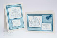 Stampin Up Card Karte Geburt Birth Bundle of Love Baby Two by Two Fürs Baby  Boy Jung
