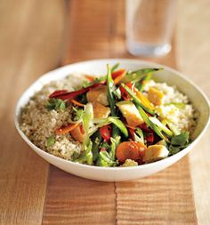This speedy, savory meal pairs well with a workout. Quinoa is an unexpected source of energizing iron and amino acids, proteins building blocks, to nourish newly toned muscles. Body bonus: Potassium in the grain can help beat bloat.