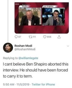 "Ben Shapiro rage quits a bbc interview. So much for ""facts don't care about your feelings"" Dankest Memes, Funny Memes, Rage Quit, Ben Shapiro, Youtube Memes, Tumblr Stuff, Pro Choice, Get Real"
