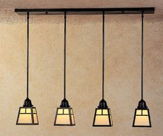 Craftsman style light fixture. This would look great over a kitchen island.