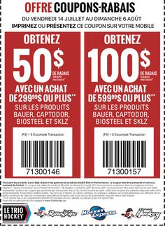 Promotion Offre coupons-rabais - Le Trio Hockey