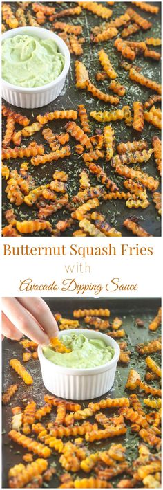 Easy Butternut Squash Fries with Avocado Dipping Sauce ~ These fries are packed with vitamins and fiber! Even potato lovers will ask for a second helping! From Lauren Kelly Nutrition Whole Food Recipes, Vegetarian Recipes, Cooking Recipes, Healthy Recipes, Ww Recipes, Delicious Recipes, Yummy Food, Veggie Dishes, Food Dishes