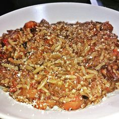 Risotto style Orzo made with the remains of a beef stew.