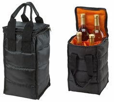 Wine Carrier Tote Bag - 4 Bottle Pockets. Four wine carrier pockets are each roomy enough to fit four standard-size wine bottles upright. Extra-thick padding secures the wine tote bottles in place keeping them from clanging together. | eBay! #winetote