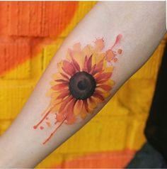 Watercolor Sunflower Arm Tattoo.