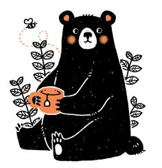 bear bee tea (I'm gonna try and get this guy on a tote bag! We shall see… . bear bee tea (I'm gonna try and get this guy on a tote bag! We shall see… - Baby Illustration, Children's Book Illustration, Character Illustration, Animal Illustrations, Illustrations Posters, Art D'ours, Illustration Mignonne, Posca Art, Bear Drawing