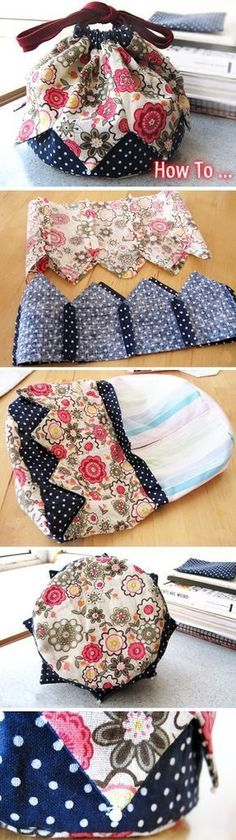 How to Make a Patchwork Drawstring Bag http://www.handmadiya.com/2016/02/how-to-make-patchwork-drawstring-bag.html