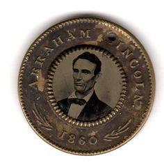 Nice version of Lincoln & Hamlin 1860 Campaign Ferrotype Medal Button. Approximately 1 inch in diameter.  *s*