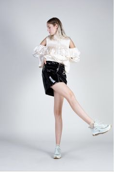 Patent leather mini skirt with front zipper and snap closure at front. Has 3 asymmetrical pockets with zippers. Bb Style, Leather Mini Skirts, Patent Leather, Ballet Skirt, City, Shopping, Fashion, Moda, Tutu