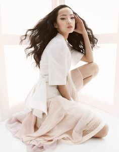 Xiao Wen Ju Poses for Greg Kadel in Pastels for Vogue China March 2013