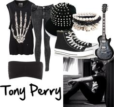 Pierce The Veil/Tony Perry inspired Band Outfits, Scene Outfits, Edgy Outfits, Grunge Outfits, Fashion Outfits, Rock Outfits, Fashion Boots, Dark Fashion, Gothic Fashion