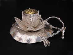 Sterling Silver Russian Filigree, Eastern Repoussé, Chased, Pierced, & Fabricated Tea Infuser, Strainer & Stand