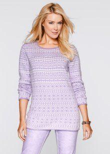 Жаккардовый пуловер с длинным рукавом, bpc bonprix collection, сиреневая фиалка с узором
