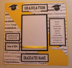 1 pre made 12 x 12 GRADUATION scrapbook page (PERSONALIZED -NAME AND SCHOOL)