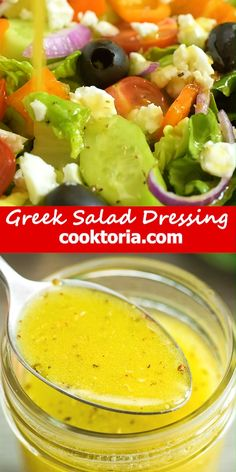This Simple & Easy Greek Salad Dressing recipe is a staple at my home. Not only do I use it to make Greek Salad, but I also add it to many other fresh salads. It also makes a great marinade for anything you can put on the grill: meats, fish, veggies, you name it. FOLLOW Cooktoria for more deliciousness! #salad #dressing #easyrecipe #greek #lunch #yummy #vegetarian #recipeoftheday Greek Recipes, Raw Food Recipes, Sauce Recipes, Fish Recipes, Meat Recipes, Cooking Recipes, Healthy Recipes, Meatloaf Recipes, Dinner Recipes