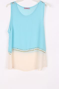 Gold Dotted Chiffon Top in Dust Blue and Cream