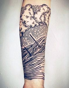 Line Work Sailing Ship In Waves Cool Mens Forearm Half Sleeve Tattoo