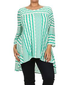 Another great find on #zulily! White & Green Zigzag Hi-Low Tunic - Plus by Come N See #zulilyfinds