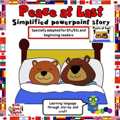 Peace at Last storytelling videos, worksheets, crafts, games, free simplified powerpoint story and related songs to help kids learn English. Learn English Kid, Kids English, English Reading, Teaching Kids, Kids Learning, Retelling Activities, Peace At Last, Action Songs, Kids Part