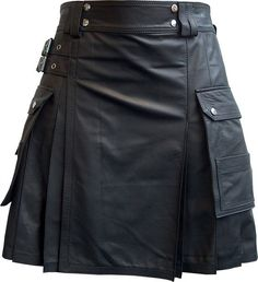 Black Leather Utility Modern Kilt  Black Custom Made by KiltTailor,