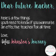 Dear Future Teacher- Advice for pre-service and new teachers to help prevent burnout First Year Teachers, New Teachers, Elementary Teacher, Teacher Survival, Survival Tips, Go It Alone, Teaching Jobs, Blog Love, Teacher Blogs