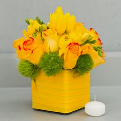 Send the yellow bouquet of flowers from La Fleur by Tracy in Los Angeles, CA. Local fresh flower delivery directly from the florist and never in a box!