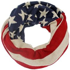 Americana Print USA Flag Warm Knit Red White & Blue Circle Scarf ($13) ❤ liked on Polyvore featuring jewelry, heavy, scarves, infinity jewelry, star jewelry, red jewellery, red jewelry and american flag jewelry