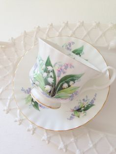 Vintage English Bone China Royal Albert Teacup and Saucer Cheverell Summertime Series Tea PartyReplacement China c. 1978 - 1986