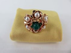 Vintage 14k Yellow Gold Pearl Cluster Green Chalcedony Ring    | eBay