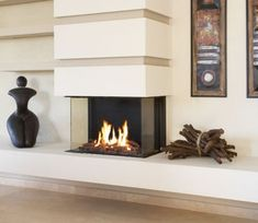 Incredible Contemporary Fireplace Design Ideas Best Pictures) - Kamin - Home 3 Sided Fireplace, Fireplace Facing, Home Fireplace, Living Room With Fireplace, Fireplace Mantels, Living Room Decor, Custom Fireplace, Fireplace Ideas, Living Rooms