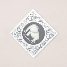 White elephant silver glitz Christmas party napkin