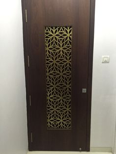Metal Laser Cut Main Door Grill in Brass Antique Finish. Main Entrance Door Design, Home Entrance Decor, Door Gate Design, Room Door Design, Door Design Interior, Wooden Door Design, Front Door Entrance, Wooden Doors, Interior Modern