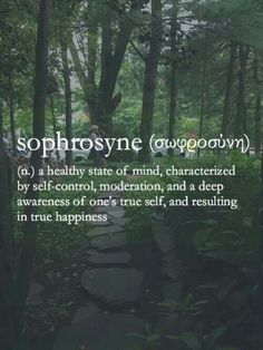 Sophrosyne. A healthy stae of mind, characterised by self control, moderation, and a deep Awareness of ones True Self, and resulting in True Happiness ..
