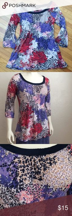 Calvin Klein Jeans color spatter knit peasant top VGUC (previously owned and washed with no flaws) Calvin Klein Jeans Tops Blouses