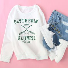 Pair a funny sweatshirt with jeans and sneakers for a casual vibe that's really cute!  #funnysweatshirt #casualvibe #outfit #cute #womenoutfit #romwe