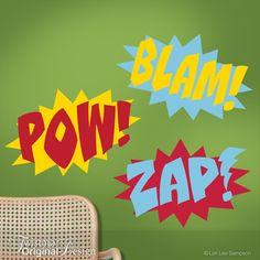 Three-Color Superhero Wall Decals - Comic Book Sound Effects Word Bursts Blam Zap Pow, Super Hero Decal, Super Hero Wall Decor $46
