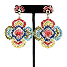 """Earring, acrylic rhinestone / steel / antique gold-finished """"pewter"""" (zinc-based alloy), multicolored, 3 inches with flower and post. Sold per pair. Shell Jewelry, Seed Bead Jewelry, Bead Jewellery, Beaded Jewelry, Beaded Earrings, Crochet Earrings, Statement Earrings, Beading Patterns, Crochet Patterns"""