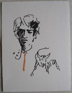 """Jean COCTEAU Le Toréador élégant, 1961 Lithographie sur papier Vélin Arches 28 X 38 cm Edition : Lithographie pour le portfolio """"Gitans et Corridas"""" édité par la Société de Diffusion Artistique Etat : Excellent"""