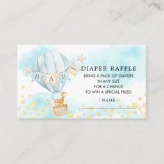 Baby Animals Hot Air Balloon Diaper Raffle Ticket Enclosure Card Baby Shower Invitation Cards, Baby Shower Invitations For Boys, Air Balloon Rides, Hot Air Balloon, Baby Shower Diapers, Baby Boy Shower, Pack Of Diapers, Diaper Raffle Tickets, Safari Party