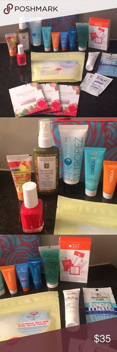 Summer goodie products ST TROPEZ , COOLA & MORE THIS IS THE PEFECT SUMMER PRODUCT GOODIE LOT ! ALL BRAND NEW AND FRESH. I have way 2 many items 2 list but will list a few & you can ask any questions. EMINENCE STONE CROP HYDRATING MIST TRAVEL SIZE,VARIETY OF COOLA SUNSCREENS,ESSIE POLISH HIP-ANEMA,ST TROPEZ 1.6 fl.oz in shower tanning lotion,tan towels, homemade lemon tan off body scrub,AMIKA HAIR MASK ,aloeVeragel,FINIPIL PACKETS 4 POST WAXING OR SHAVING,3 eminence tomato day cream SPF16,in…