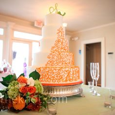 Orange Scrollwork wedding Cake