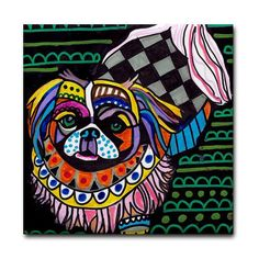 Pekingese dog coasters Ceramic Tile 4x4 Inch by HeatherGallerArt, $20.00