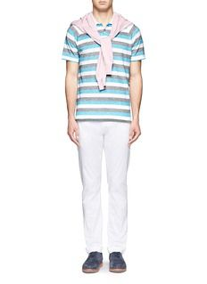ISAIA Cotton-linen stripe polo shirt