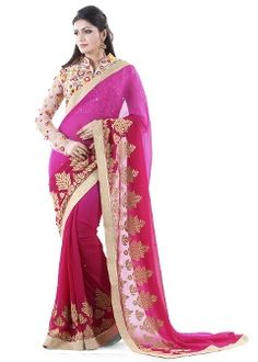 Buy Club Art Decor Georgette Saree - Pink