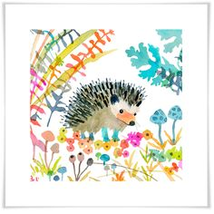 Woodland Watercolor - Hedgehog, Animals Art Prints | Oopsy Daisy