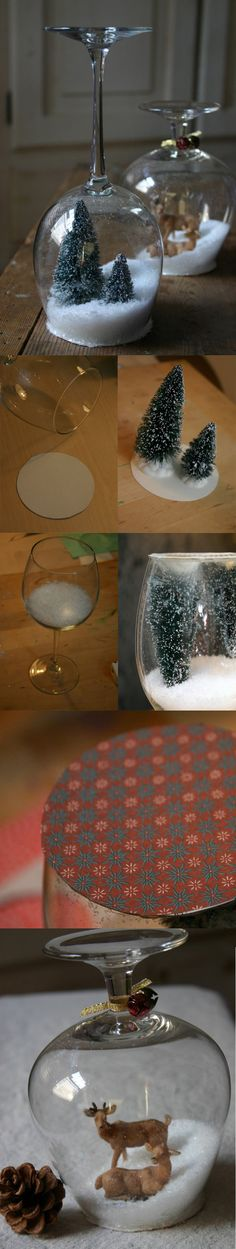DIY :: Stemware Snow Globes. I think this is a cute and fun way to make a modern snowglobe
