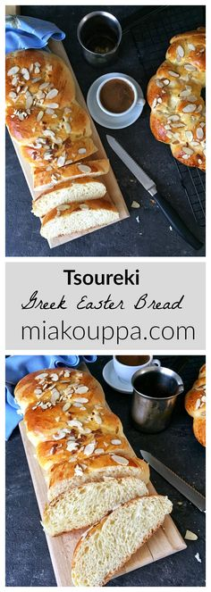 Tsoureki (Τσουρέκι). Greek Easter bread.  Try this delicious and easy Tsoureki recipe.  It has never failed us!  #tsoureki #greekeaster #easter #greekbaking #orthodoxeaster